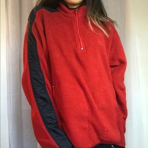 chaps red 3/4 zip sweatshirt